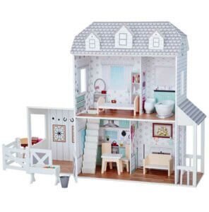 Teamson Kids Farmhouse Wooden Doll House with Horse Stable