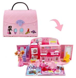 deAO Children's 2-In-1 Pink Portable Doll House