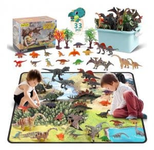 DigHealth 33 Pcs Dinosaur Toy Playset with Activity Play Mat